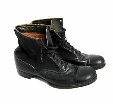 Antique Victorian Black Leather Wool Lace Up Boots High Top Ankle Granny Cap Toe