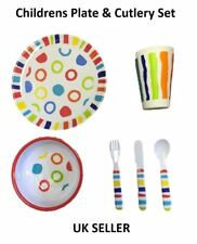 Childrens Plastic Dining Plate Kids Cutlery Picnic Set 6pc Bowl Knife Fork Spoon