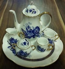 PORCELAIN CHINA DOLL HOUSE MINIATURE TEA SET COBALT BLUE ROSES GOLD TRIM