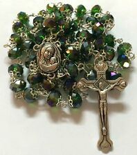 Jerusalem Holy Earth Soil Green Glass Crystal Beads Rosary Israel Church Jesus