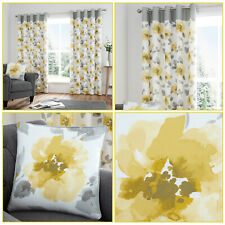 Ochre Yellow Eyelet Top Curtains Floral Watercolour Print Flower Curtains Pair