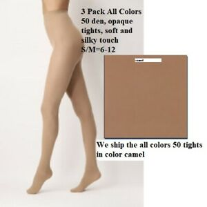 3 Pack All Colors 50 den, opaque tights, soft and silky touch, camel, S/M=6-12