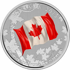 2015 $25 for $25 Fine Silver Coin-50th Anniversity of Canadian Maple Leaf Flag