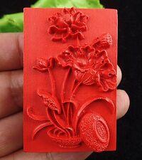 Beautiful Cinnabar carved flower Pendant bead BC3546