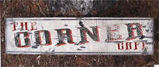 THE CORNER CAFE -  Rustic Painted Wooden Sign