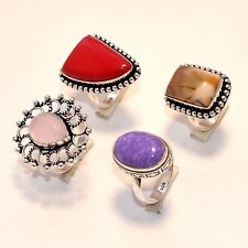 Bulk Price Lot 20 PCs. CORAL & CHAROITE 925 Sterling Silver Plated Ring Jewelry