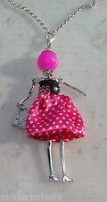 Bambola Collana vestito a pois,perle,da Donna,bambolina,necklace doll, fucsia