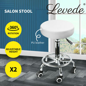 2x Levede Salon Stool Swivel Hairdressing Barber Stools Bar Chairs Lift Round