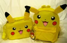 """Pokemon Pikachu with Ears 12"""" Backpack + 9.5"""" Pikachu with Ears Lunch box-New!"""