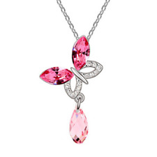 Fashion Womens Butterfly Pink Crystal Rhinestone Silver Chain Pendant Necklace