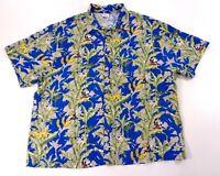 Disney Mens Aloha Hawaiian Camp Shirt Blue Mickey Goofy Donald Duck Size Large