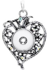 Antique Silver Rhinestone Heart Snap Button Charm Pendant Jewelry Necklace 7-4