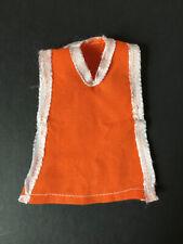 """Mini Vestido Vintage Orange Tabardo cinta de cuello en V blanco guarnecido encaja 9"""" Muñeca De Moda"""