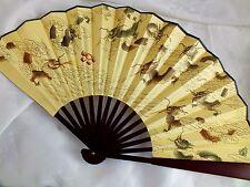 L chino 33cm 9 Dragón Afortunado Ventilador de pared a mano de seda amarillo Hombres Fiesta De Cumpleaños P4