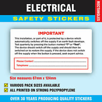Pack of 50 - Test BS 7671  Strong Electrical Safety Stickers Labels 67 x 124mm