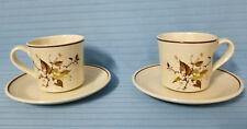 2 Royal Doulton WILD CHERRY #LS1039 Tea Cup & Saucer Brown White Floral Mug