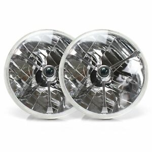 "H6024 Pair 7"" Tri-Bar Head Light Housing Round Glass Conversion Lamp-Set hot rod"