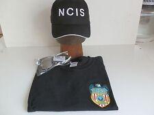 NCIS Shield embroidered on Black T-Shirt XL 44/46 + NCIS Cap +  Sunglasses, New