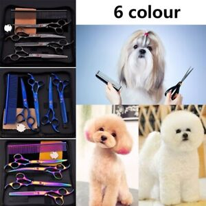 5Pcs/set 7 inch Cat Dog Pet Grooming Scissors Kit Curved Cutting Thinning Shears