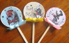 "Alice in Wonderland 10 cupcake topper eat me 2"" pictures on both sides glossy"