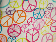 Retro Peace Symbols Bright Colors White Cotton Fabric FQ