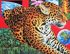 Charles Lynn Chick Bragg LEOPARD PARADISE Hand Signed Art Giclee on Canvas