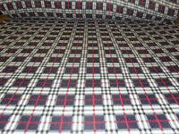 60 Inch Width Navy Plaid Polar Fleece, Material,Fabric,Soft And Washable