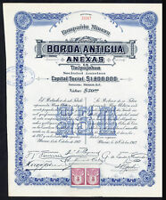 Mexico: Compania Minera Borda Antigua y Anexas en Tlalpujahua, $50 shre, 1912...