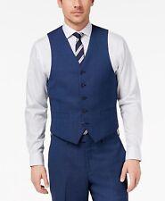 $160 MICHAEL KORS men BLUE FIT BUTTON WOOL DRESS SUIT VEST WAISTCOAT 46 R