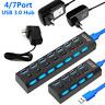 4 7 Port USB Hub Multi Splitter Expansion Power Adapter High Speen For Laptop PC