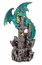 Green Guardian Dragon on Castle Figurine Medieval Mythical Fantasy Decoration