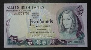 1990 £5 Allied Irish Bank Ltd Ireland Belfast P-6b -> aUNC <- Serial UN2308757