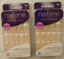 2/ Nailene Nail Studio Medium French White Tip 28 Glue Press On Nails 71281