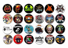 24 X Thrash Metal band buttons (badges,megadeth,slayer,metallica,testament,pin)