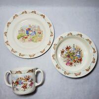 Royal Doulton Bunnykins Cereal Soup Rimmed Bowl Double Handle Mug and Plate Lot