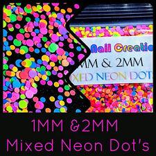 1MM & 2MM Mixed Neon DOT Glitter~Nail Art•Acrylic•Gel•Body Art•Festival•Crafts