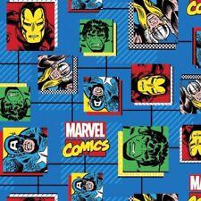 Marvel Comic Fabric - Avengers Comic Blocks Blue - 100% Cotton