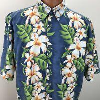 BILLABONG Blue Hawaiian Aloha Mens Size XL Hibiscus Floral Button Down Shirt