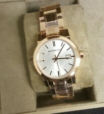 BURBERRY Womens Rose Gold Plated Watch with ROSE Gold & SILVER Face.