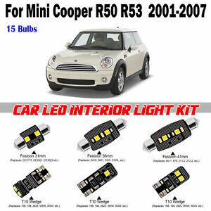 15 Bulbs White LED Full Interior Light Kit For MINI Cooper S R50 R53 2001-2007