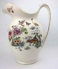Antique Morley Fox & Co Water Jug Oriental Flora & Fauna Pagoda
