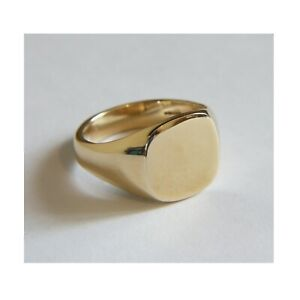 SALE 9ct Solid Yellow Gold Cushion Pinky Signet Ring 12x11mm UK Hallmarked @ G