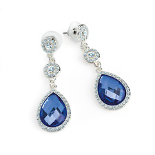New Silver Colour Crystal Drop Earrings with Blue or Green Stone 5.5cm