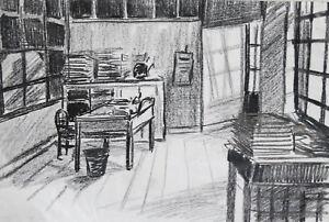 Vintage Pastel Painting Theatre Scene Design Room signed