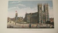 VINCENT PRICE SEARS ART HAND COLORED FRAMED ANTIQUE PRINT WESTMINSTER ABBEY