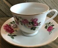 Vintage Pink Moss Rose Tea Cup & Saucer Made in China Tea Party Shabby Chic EUC