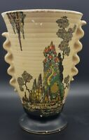 "Rare 1930s Crown Devon Style Art Deco Vase Decorated in ""Fairy Castle"" Pattern."