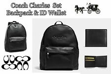 Coach Set F54786 Charles Black Mens Backpack + Coach F774991 Compact ID Wallet