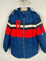 BOYS TOMMY HILFIGER BLUE WINTER PADDED CASUAL HOOD RAINCOAT JACKET KIDS SIZE S