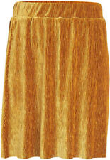 elastischer Velour-Rock ,Plissee,Damen ,Gr.L (38-40),Ocker-Gold